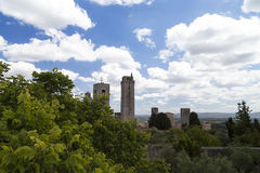View on some of famous towers in San Gimignano in Toscany ,Italy. View on some of famous towers in San Gimignano in Toscany in Italy on blue sky background Royalty Free Stock Images