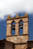 View on some of famous towerwith bells in San Gimignano in Toscany in italy.  stock photos