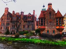 Dean Village houses, Edinburgh, Scotland. View on some houses of the Dean Village along the Leith river, Edinburgh, Scotland royalty free stock images
