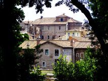 View of some houses from a park in Rome. Italy royalty free stock photo