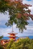 View of some iconic buildings at Kiyomizu-dera Buddhist Temple in autumn. View of some iconic buildings at Kiyomizu-dera Buddhist Temple with the main Pagoda royalty free stock photography
