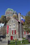 View of some old buildings from the lower old town, and Chateau. Frontenac in the background stock images