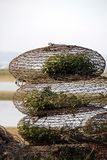 Crab traps. View of some piled crab and other crustacean traps on a beach Stock Images