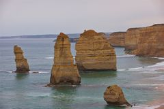 The Twelve Apostles Great Ocean Road Victoria Australia. A view of some of the Twelve Apostles on the Great Ocean Road, Torquay Australia just after a rain Royalty Free Stock Image