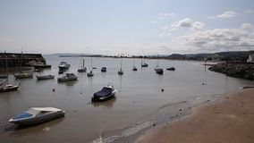 View from Somerset harbour Minehead England with boats stock video