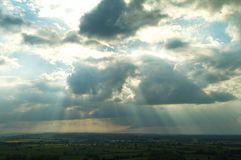 View of the Somerset Levels. A view of the Somerset Levels from St Michael`s Tower on Glastonbury Tor in the English county of Somerset royalty free stock photos
