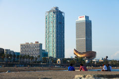 View of Somorrostro Beach in Barcelona. BARCELONA, SPAIN - JUNE 23, 2014: View of Somorrostro Beach in summer evening in Barcelona, Spain. It is one of the most Stock Photography