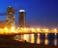 View of Somorrostro Beach in Barcelona. View of Somorrostro Beach in summer evening in Barcelona, Spain Royalty Free Stock Photography