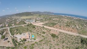 View from Son Servera to the Sea - Aerial Flight, Mallorca stock footage