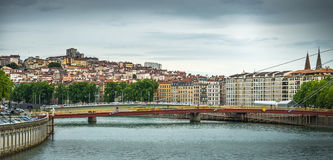 View from Sona river, Lyon, France Royalty Free Stock Image