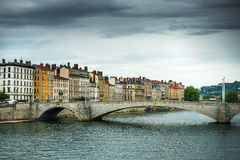 View from Sona river, Lyon, France Royalty Free Stock Photo