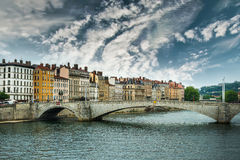 View from Sona river, Lyon, France Stock Photos