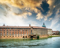 View from Sona river in Lyon Stock Photography