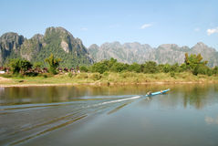 View of Song river in Vangvieng, Laos. Lao life style in Song river, Vangvieng Royalty Free Stock Photos