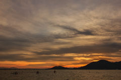 View of Songkhla lake during sunset at Songkhla, Thailand. View of Songkhla lake during sunset at Songkhla province, Thailand stock photo