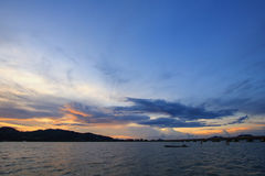 View of Songkhla lake during sunset at Songkhla, Thailand. View of Songkhla lake during sunset at Songkhla province, Thailand royalty free stock image