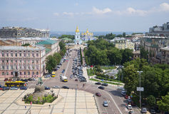 View Sophia Square on St. Michael`s Monastery. Kiev, Ukraine Royalty Free Stock Photography