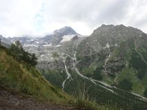 The Sofia River Valley. View of the Sophia waterfalls from above, the Sofia glacier, Mount Sofia and the river valley Stock Photography