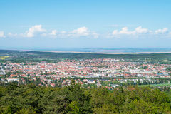 View of Sopron and Lake Ferto, Hungary. View of Sopron and Lake Ferto from Karoly Lookout tower, Hungary Royalty Free Stock Photo