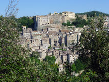 View on Sorano, Italy. Sorano is a town and comune in the province of Grosseto, southern Tuscany Italy Royalty Free Stock Images