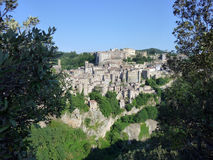 View on Sorano, Italy. Sorano is a town and comune in the province of Grosseto, southern Tuscany Italy Stock Photography