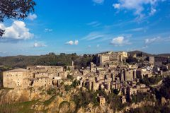 View at the Sorano. View at the old famous tuff city of Sorano, province of Siena. Tuscany, Italy stock photos