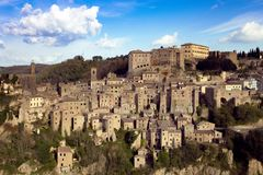 View at the Sorano. View at the old famous tuff city of Sorano, province of Siena. Tuscany, Italy Stock Image
