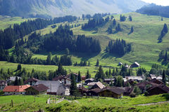 View of Sorenberg. And green valley in mountain in Switzerland royalty free stock photos