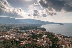View of the Sorrento coast. Meta beach, travel concept, space for text stock photo