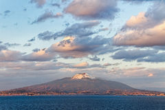View from the Sorrento coast. View from the Sorrento coast to the Vesuvius volcano royalty free stock image