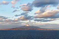 View from the Sorrento coast. View from the Sorrento coast to the Vesuvius volcano stock images