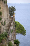 View from Sorrento. Stone stairs on the cliff of Sorrento, Italy Royalty Free Stock Photography
