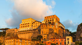 View of Sorrento in Sunset. A town on the Amalfi coast in Italy Royalty Free Stock Images