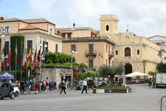 Sorrento Italy town centre. A view of Sorrento town centre in Italy. Chapel, hotel. roundabout. traffic and people in view Stock Image