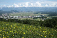 View of Sorsko filed. With the town of Skofja Loka and town of Kranj in distance Royalty Free Stock Photos