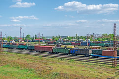 View of sorting stations. Urban junction railway yard on which sorting of freight railway trains takes place Stock Photos