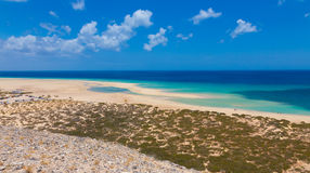 View of Sotavento ( Jandía ) beach from a small hill Stock Image