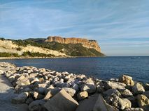 View of the Soubeyranes cliffs from Cassis stock photo