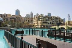 Souk al Bahar in Dubai. View Of The Souk Al Bahar before Burj Al Khalifa in Dubai Royalty Free Stock Image