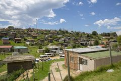 View of a South African township. South African township in Knysna, in the south of South Africa stock image