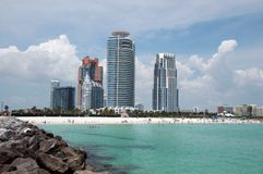 View of South Beach from Jetty Stock Photo