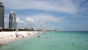 View of South Beach from Jetty Stock Image