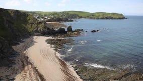 View of South Devon coast towards Hope Cove England UK near Kingsbridge and Thurlestone stock footage