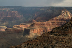 View From The South Rim Of The Grand Canyon With Passing Storms Stock Image