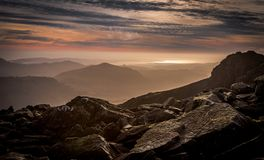 Sunset at Scafell Pike in the Lake District royalty free stock image