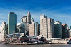 View of South Street Seaport and Pier 17 in Lower Manhattan Royalty Free Stock Images
