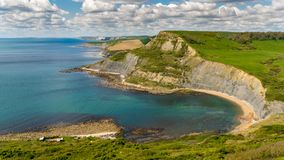 Chapman`s Pool, Jurassic Coast, Dorset, UK. View from the South West Coast Path over Chapman`s Pool, near Worth Matravers, Jurassic Coast, Dorset, UK Stock Image