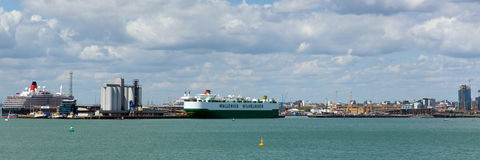 View of Southampton Docks with big cruise ship and boats panorama Royalty Free Stock Image