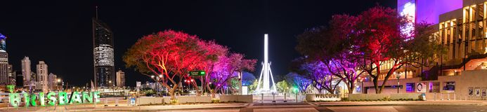 BRISBANE, QUEENSLAND, AUSTRALIA - AUGUST 19th 2018: View of Southbank parklands in Brisbane city, Queensland at night. Stock Image