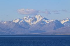 Southern Alps from Lake Tekapo, South Island, New Zealand stock photography